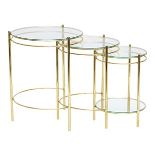 Circular Brass & Glass Nesting Tables - Set of 3 For Sale