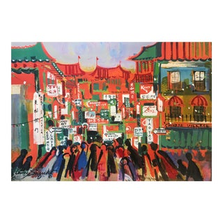 San Francisco Chinatown Lithograph by Lewis Suzuki For Sale