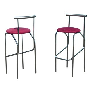 1980's Vintage Contemporary Barstools- A Pair For Sale