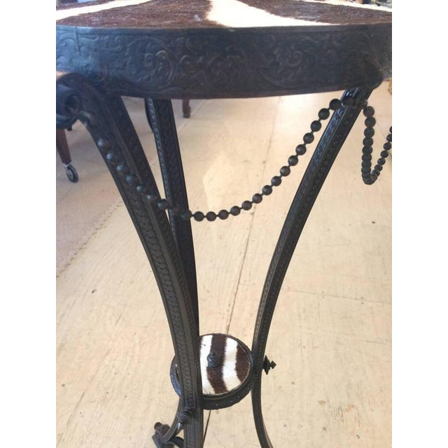 Antique French Bronze & Zebra Hide Gueridon Table - Image 4 of 8