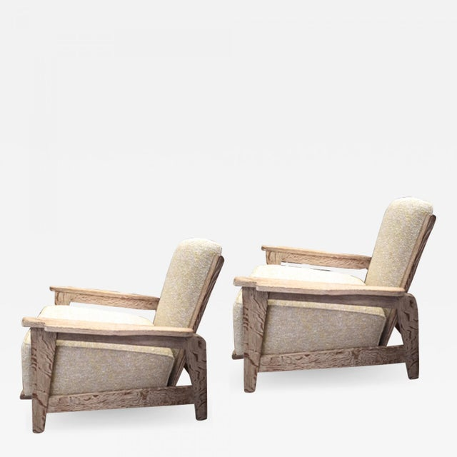 Wood Style of Prouve Cerused Oak Lounge Chairs With Reclining Back For Sale - Image 7 of 7