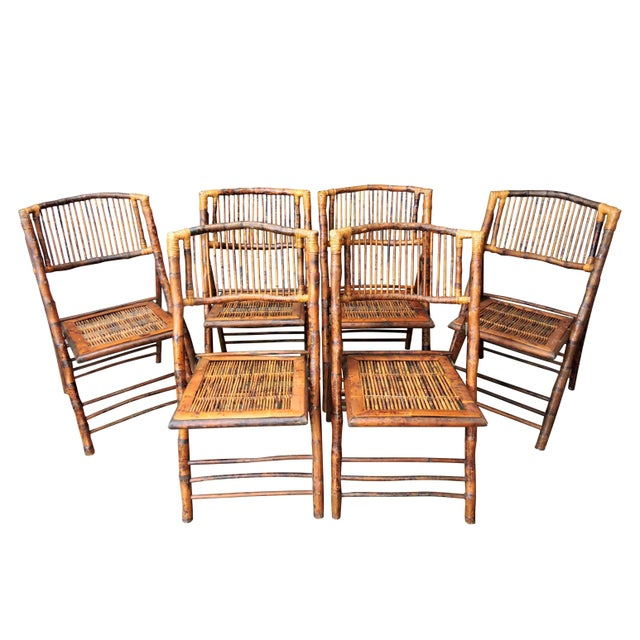 Brown Vintage Folding Bamboo & Cane Dining/Side Chairs - a Pair (4 Pairs Avialable) For Sale - Image 8 of 8