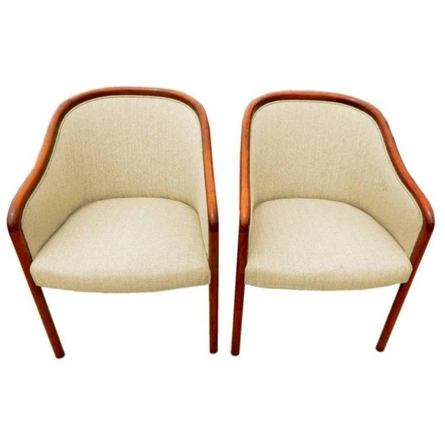 These Mid-Century walnut chairs by Ward Bennett for Brickel graced the lobby of a disgraced savings and loan. Priced...