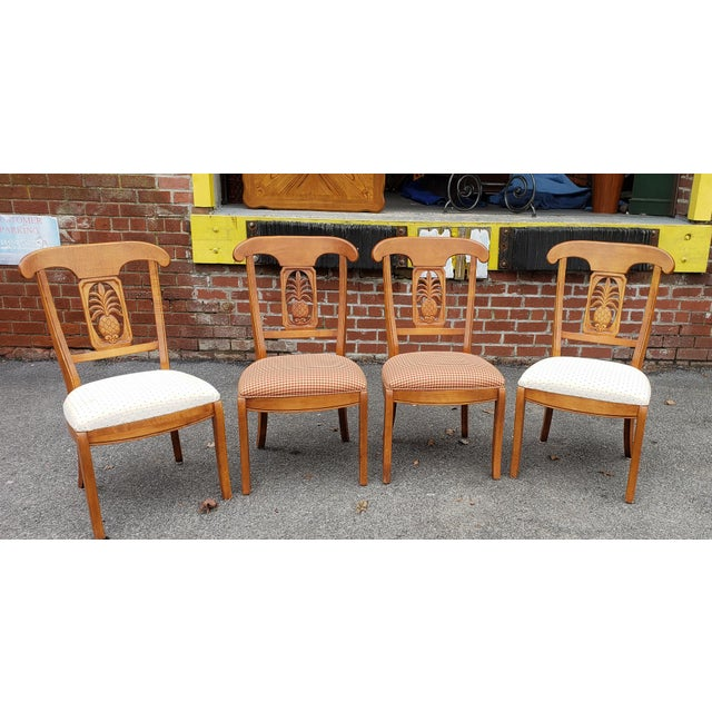 Ethan Allen Legacy Collection Maple Table W/ Wrought Iron Base & 4 Side Chairs C1990s For Sale - Image 11 of 13