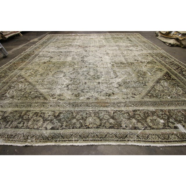 Distressed Antique Persian Mahal Rug With Modern Industrial Style, 10'06 X 13'07 For Sale - Image 4 of 8