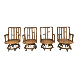A Pair of 1960s Boho Chic Ficks Reed Bamboo Swivel Captain's Chairs For Sale