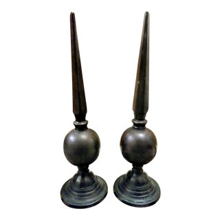 A Pair of French Mid Century Metal Tall Obelisks Finial Decor For Sale