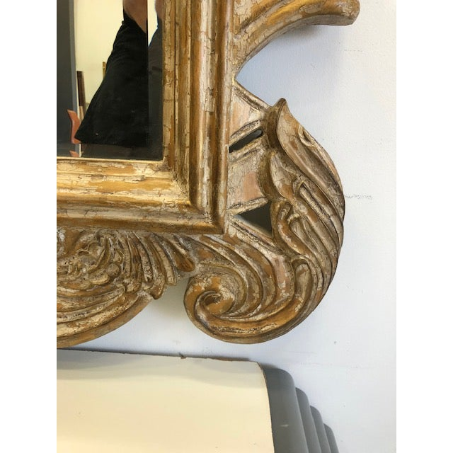 Late 20th Century Overscaled Hand Carved Wood Neoclassical Mirror For Sale - Image 9 of 13