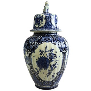 Vase, Boch Royal Sphinx Blue Delft Lion Flowers For Sale