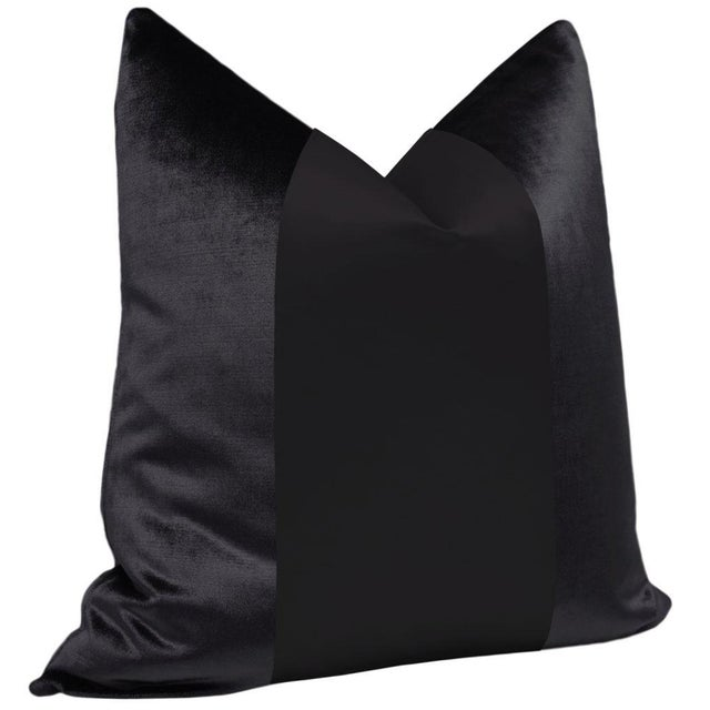 "Contemporary 22"" Ebony Velvet & Silk Panel Pillows - a Pair For Sale - Image 3 of 5"