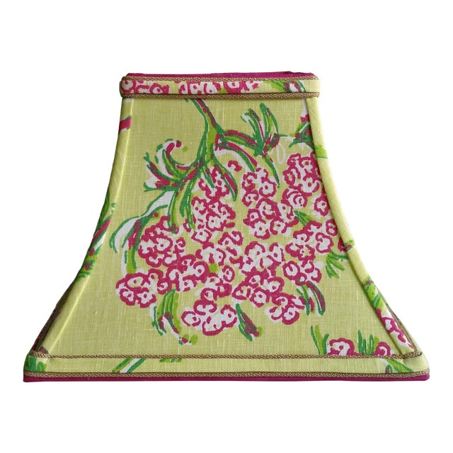 Lilly Pulitzer Fabric Lampshade Hot Pink Green Tropical Floral For Sale