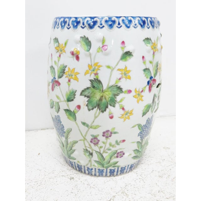 Asian Chinese Floral Garden Stools - A Pair For Sale - Image 3 of 5