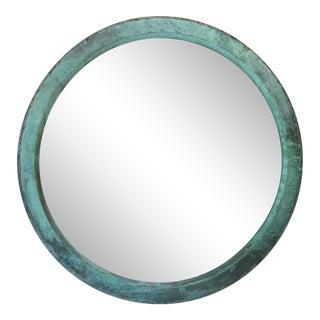 Round Verdegris Copper Mirror For Sale