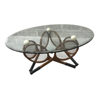 Tennis Racket Glass Cocktail Table For Sale
