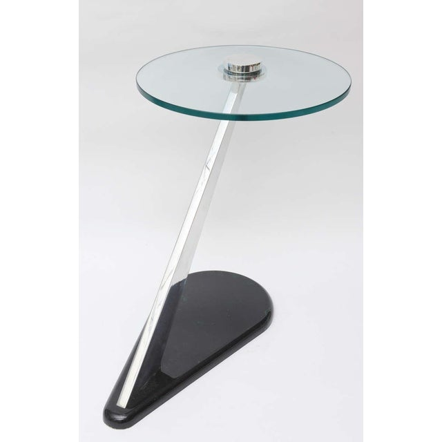 Angled Sculptural Nickel Silver, Glass and Resin Side Table - Image 3 of 10