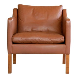Vintage Danish Borge Mogensen Style Easy Chair in Cognac Leather For Sale