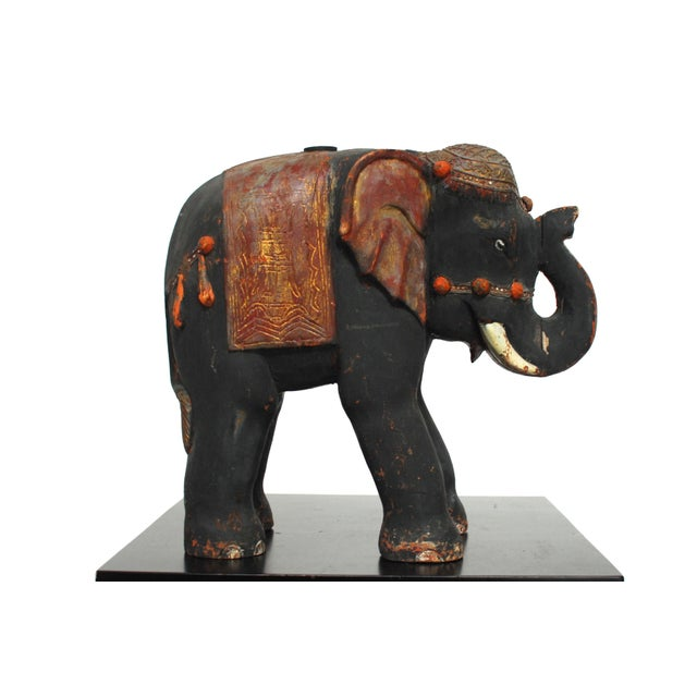 Antique Polychrome Carved Wood Elephant - Image 3 of 6