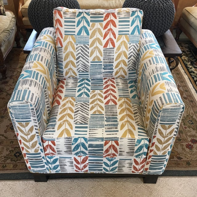 Custom Contemporary Leaf Motif Upholstered Arm Chair - Image 3 of 11