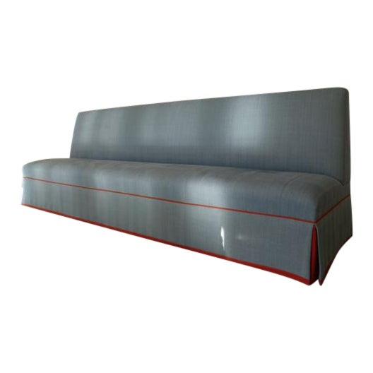 Custom Banquette Sofa in Tilton Fenwick Fabric For Sale