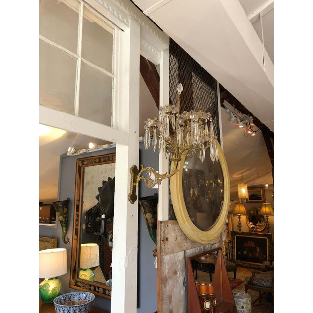 Bronze Cast Bronze and Crystal Candle Sconces -A Pair For Sale - Image 8 of 10