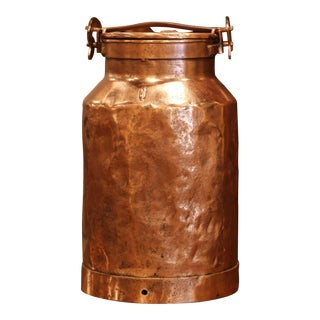 19th Century French Patinated Copper Milk Container With Handle and Lid For Sale