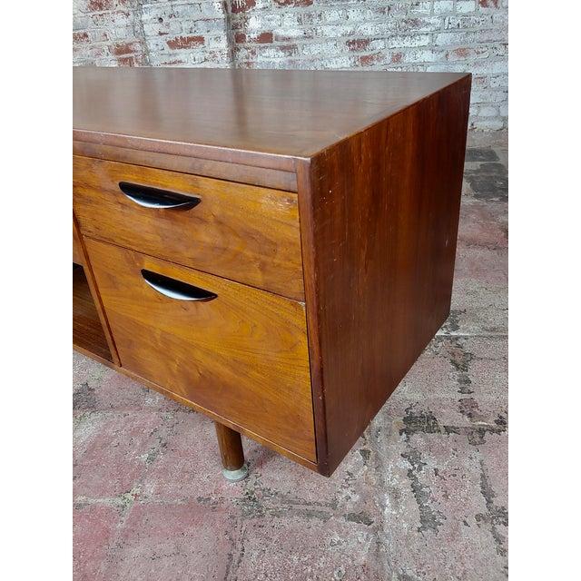 Walnut Jens Risom -Danish Mid Century Modern Walnut Credenza-C1950s For Sale - Image 7 of 10