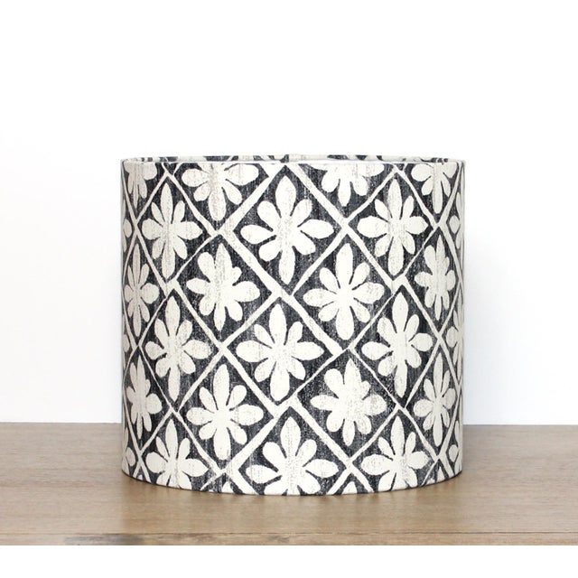 Not Yet Made - Made To Order Desta Floral Drum Lamp Shade in Ebony For Sale - Image 5 of 6
