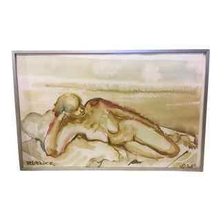 Sculptural Art Figurative Watercolor Painting by Peter Ruddick For Sale