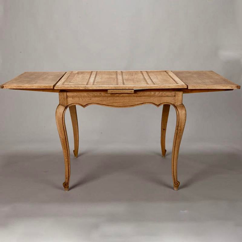 Etonnant French Bleached Oak Table With Self Storing Leaves   Image 6 Of 9