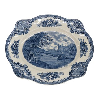 Vintage Johnson Brothers Old Britain Castles Blue Transferware Serving Dish Plate For Sale