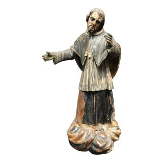 18th Century Spanish Santo - St Augustine Wooden Sculpture For Sale