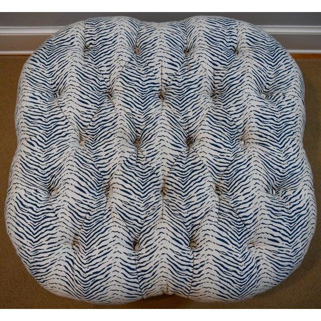 Blue Kravet Upholstered Contemporary Tufted Oversized Round Ottoman Walnut Legs Animal Zebra Blue Cream Nailheads For Sale - Image 8 of 11
