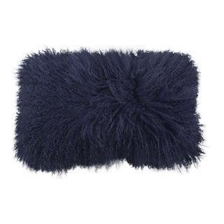 Tibetan Lamb Pillow in Navy 22x12 For Sale
