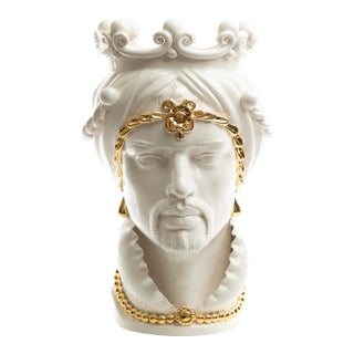 24 Karat Gold Sicilian Gigante Head, Schittone Modern Moro For Sale