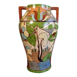 1940s Mexican Petatillo Double-Handled Vase For Sale