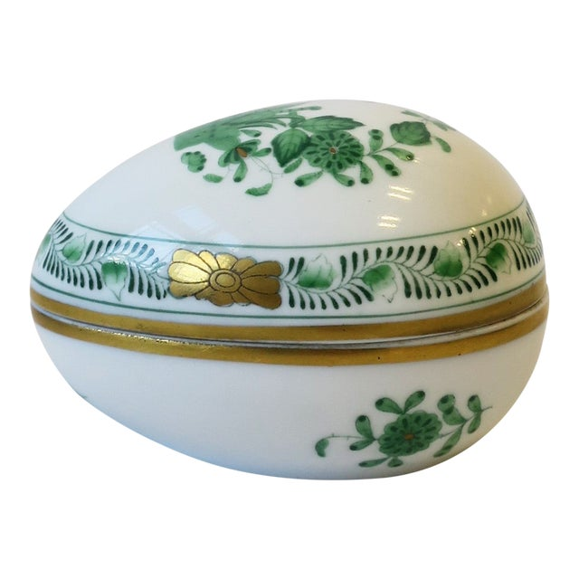Herend White Green Gold Porcelain Egg-Shaped Jewelry Box For Sale