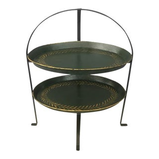 Dark Green & Gold Tole Two-Tier Tray For Sale