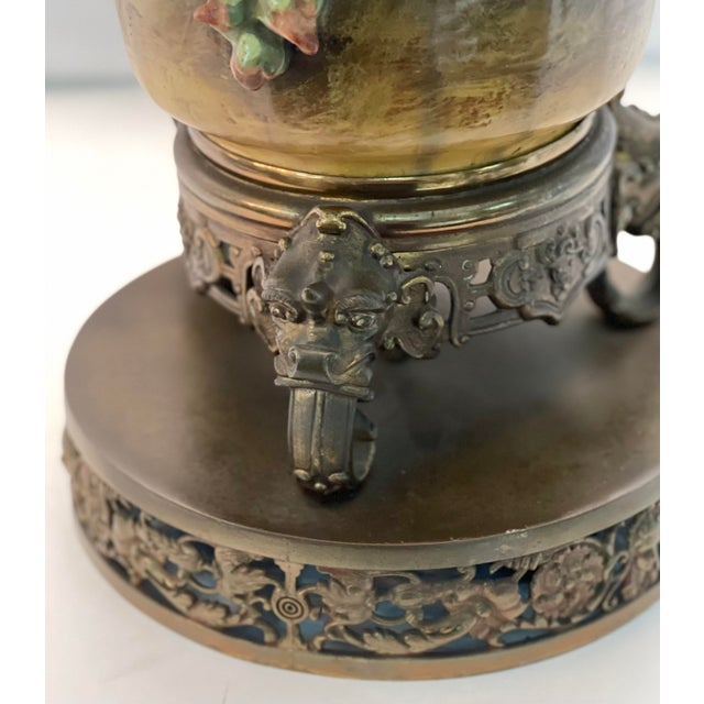 19th C. Over-Scale Lamp W/Dramatic 3-Dimensional Floral Details & Orientalist Bronze Mounts For Sale - Image 11 of 13