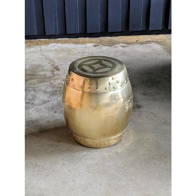 Chinoiserie Brass Drum Stool For Sale - Image 4 of 8