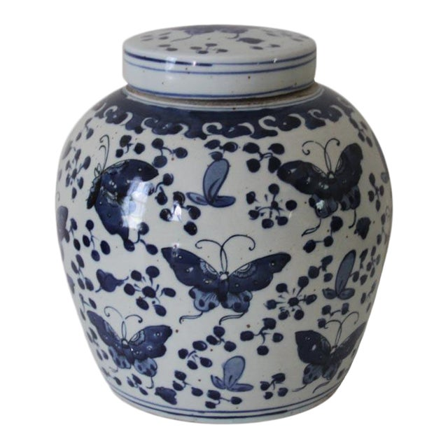 Chinese Blue and White Butterfly Ginger Jar For Sale