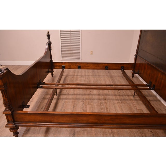 2000 - 2009 Theodore Alexander Armoury Collection Engraved Brass Paneled King Bed For Sale - Image 5 of 12