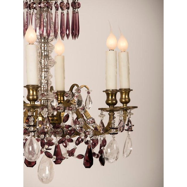 Incredible neoclassical scandinavian six arm rock crystal chandelier neoclassical scandinavian six arm rock crystal chandelier amethyst pendants circa 1900 image 6 aloadofball