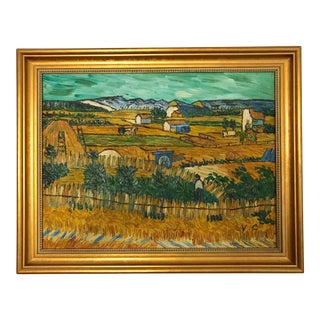 Vintage Mid-Century French Hay Field Framed Oil Painting For Sale