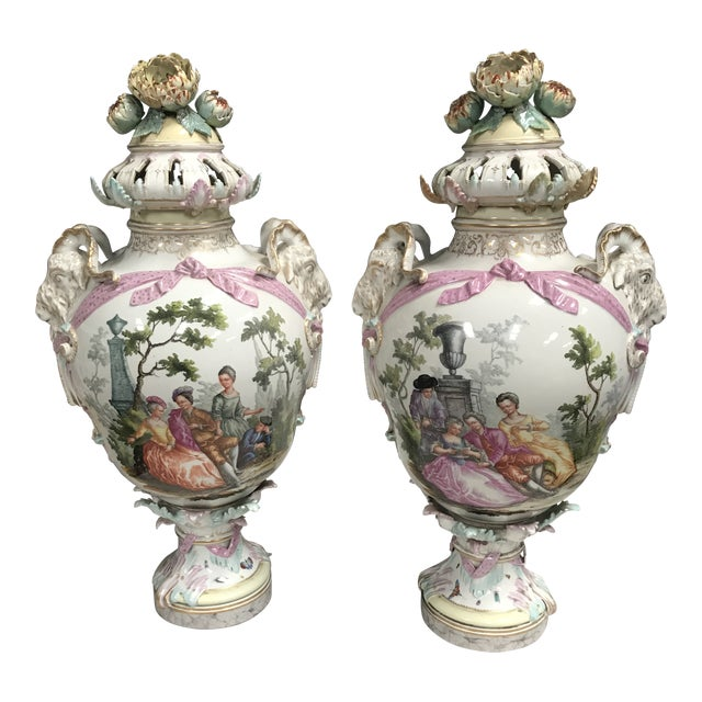 19th Century Large Porcelain Urns/Bases - a Pair For Sale