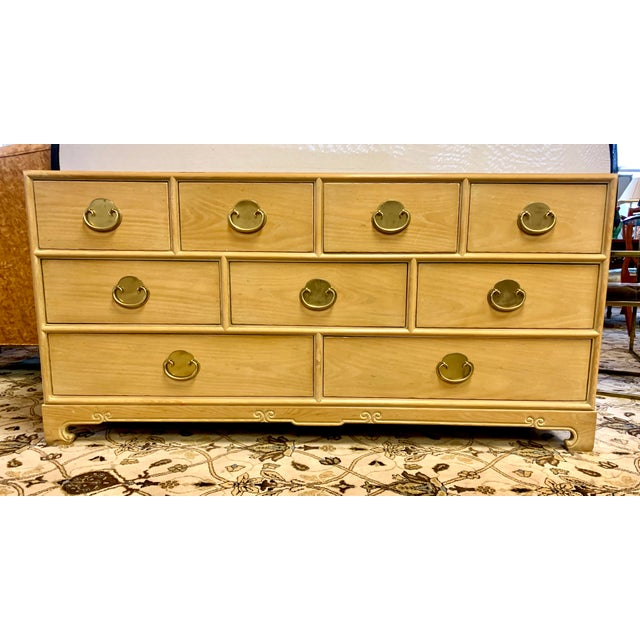 Chinoiserie style cerused oak nine drawer dresser by Ray Sabota for Century Furniture Company, circa 1970s. Original brass...