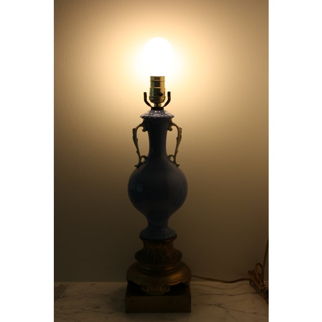 Antique Blue and White Urn Lamp with Gold Base For Sale - Image 9 of 10