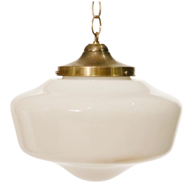 Art Deco Glass With Brass Cap Pendant For Sale