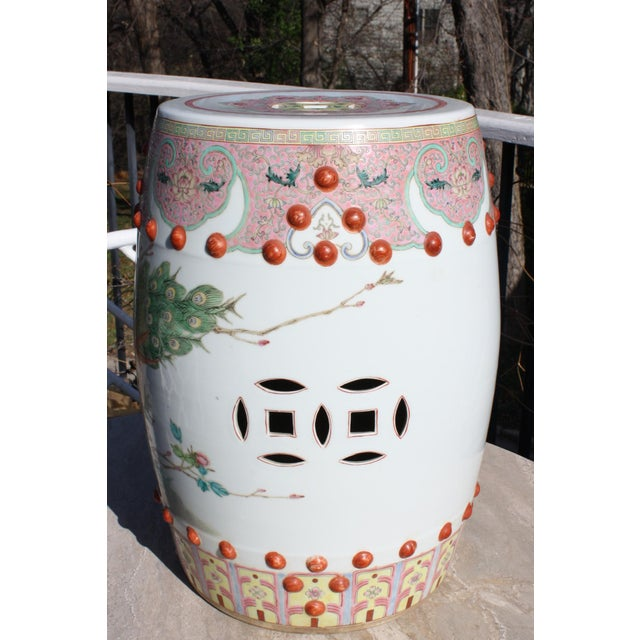 Ceramic Chinese Famille Rose Porcelain Peacock Garden Seat For Sale - Image 7 of 13