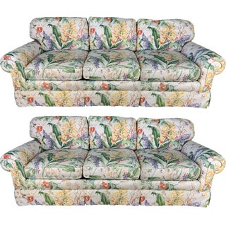 Floral Upholstered Sofas by Robb and Stucky - A Pair For Sale