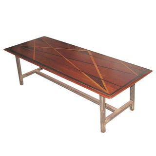 1950s Mid-Century Modern Inlaid Wood Top on Later Metal Base Coffee Table For Sale